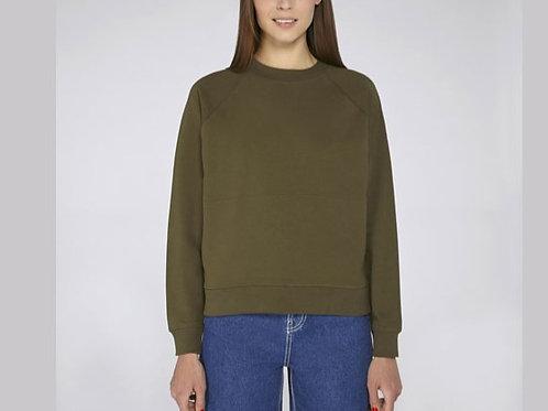 Sweatshirt bio femme col montant- poches kangourou