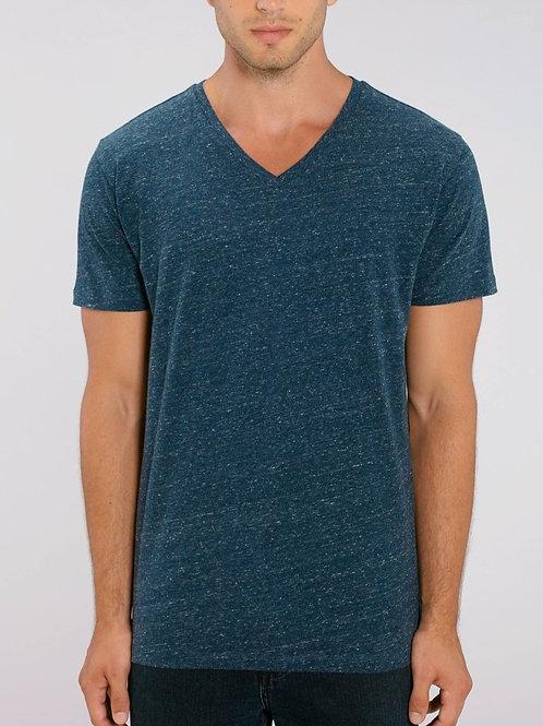 T-shirt 100% Coton Bio  - PRESENTER - col en V - Coloris Chinés Extrq
