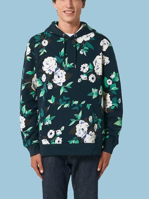 Sweatshirt BIO Homme avec capuche  -  Motif Fleuri