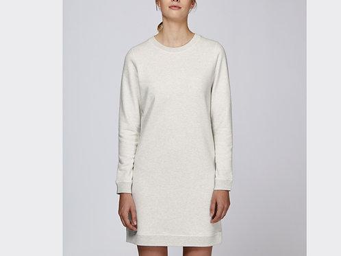 """Robe en coton bio manches longues """"Kicks"""" - Blanc"""