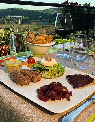 Assiette-périgourdine-foie-gras-saucissot-à-la-truffe