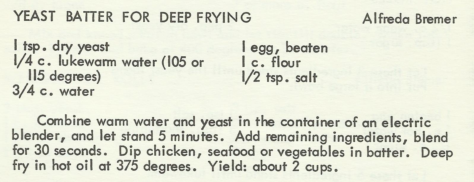 Yeast Batter For Deep Frying