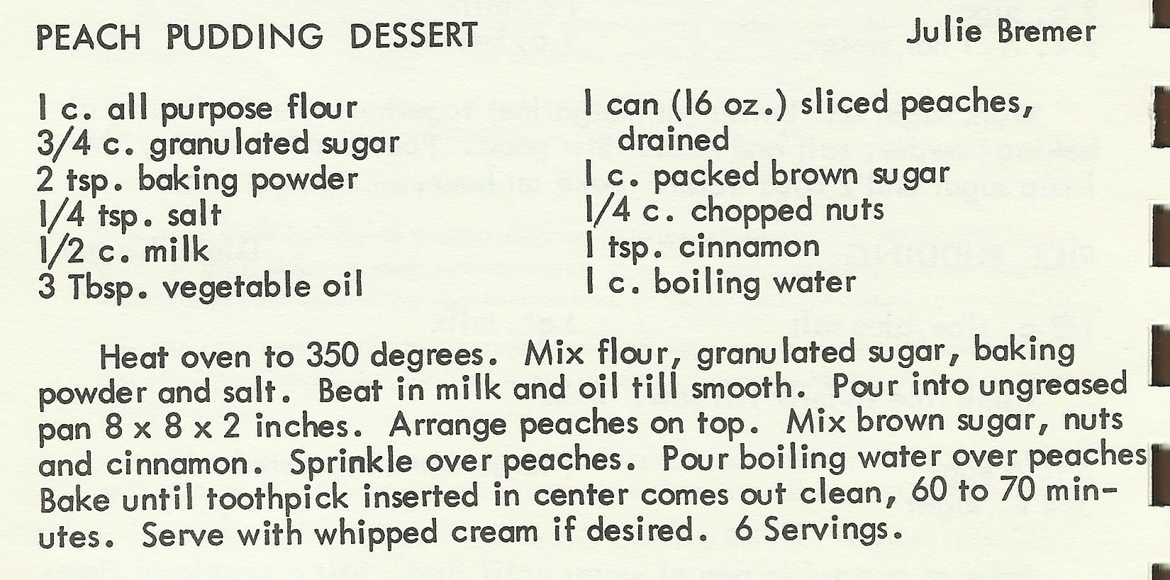Peach Pudding Dessert