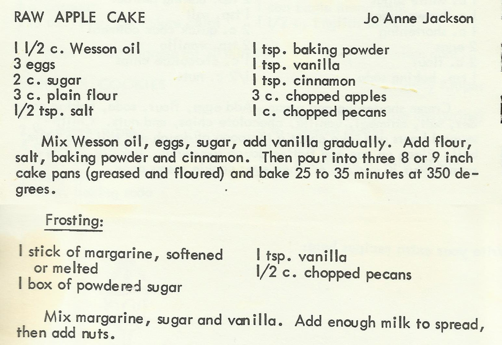 Raw Apple Cake