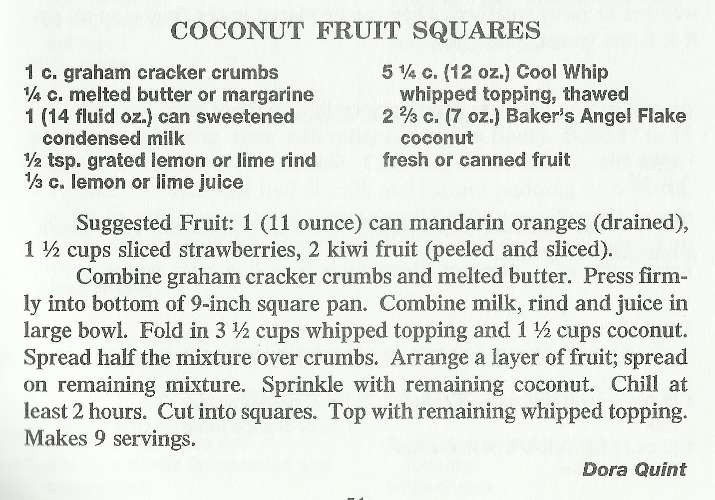 Coconut Fruit Squares