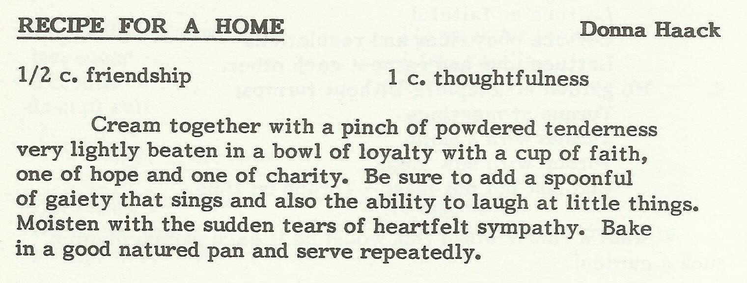 Recipe for a Home