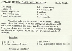 Italian Cream Cake and Frosting