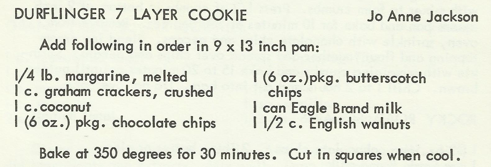 Durflinger 7 Layer Cookie
