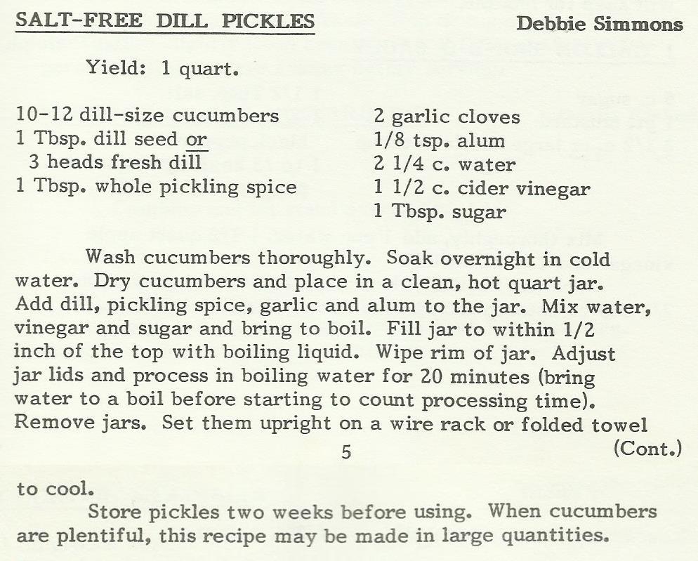 Salt-Free Dill Pickles