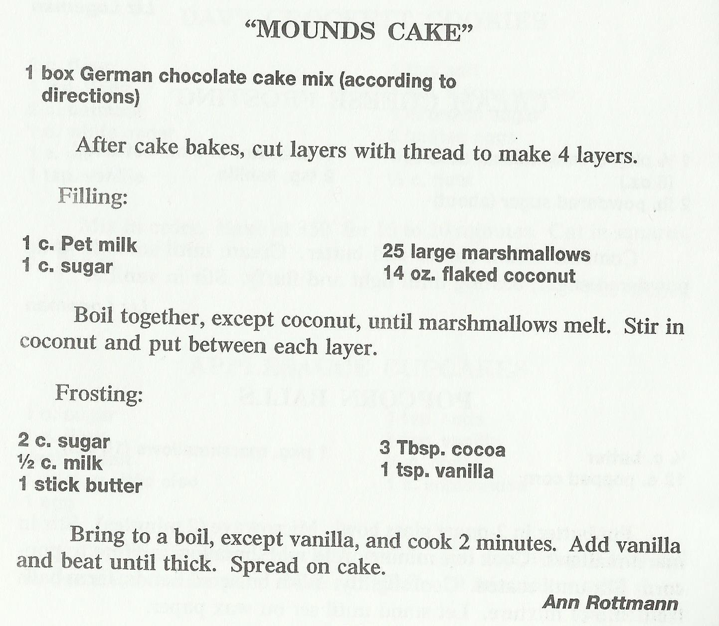 Mounds Cake