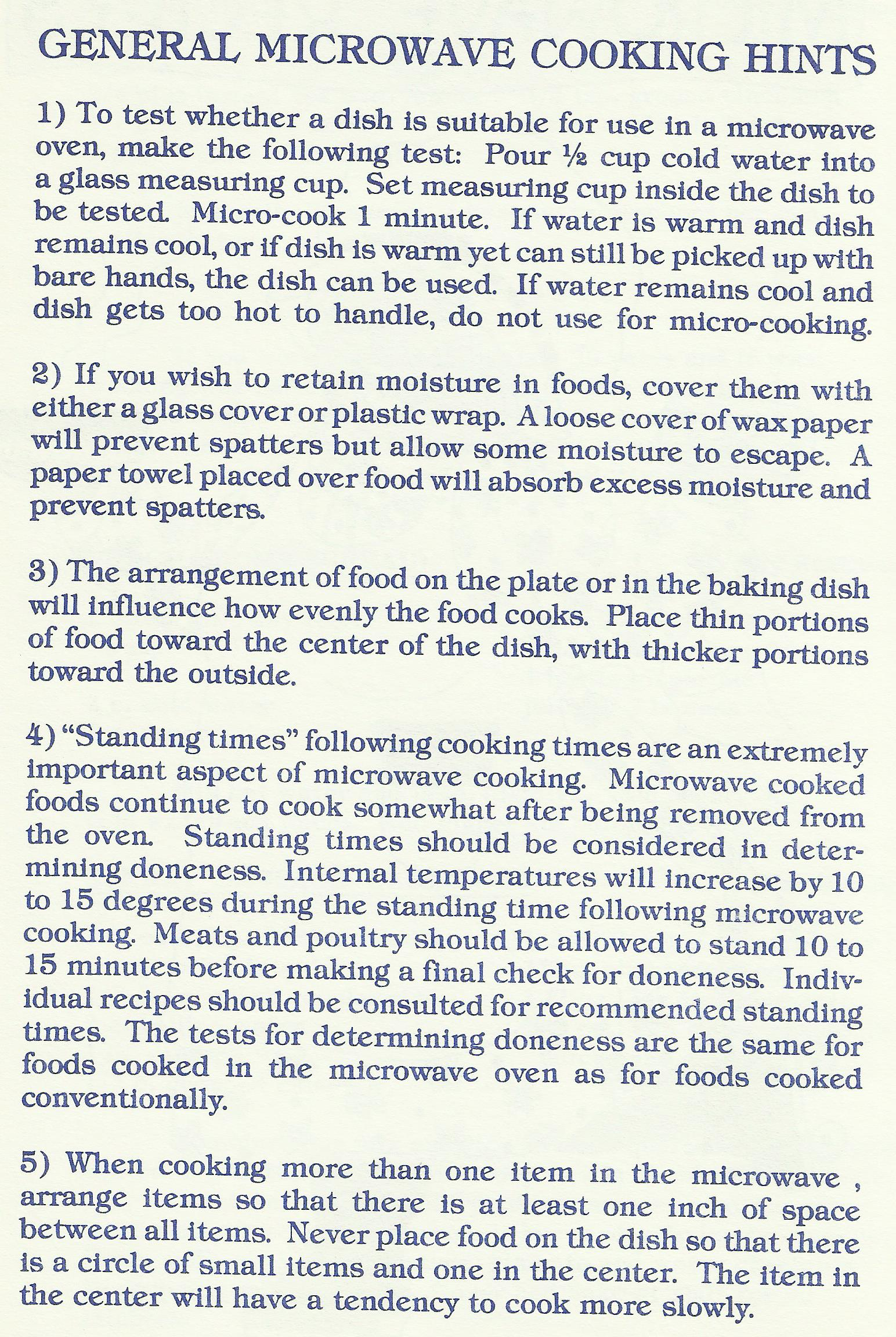 General Microwave Cooking Hints