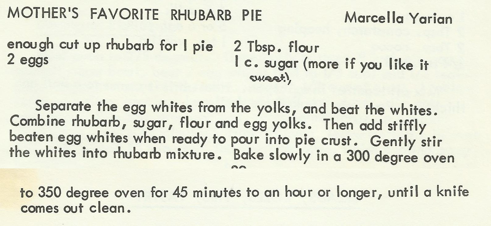 Mother's Favorite Rhubarb Pie