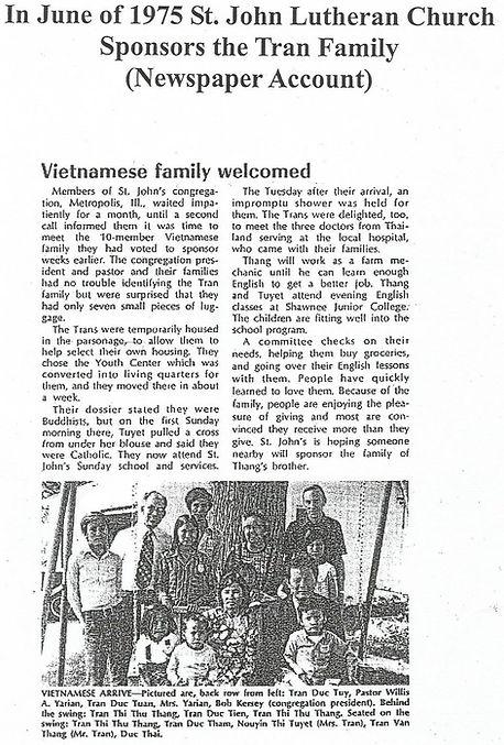 Tran Family from Vietnam Sponsored by St. John Lutheran Church Metropolis, IL in 1975