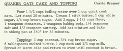 Quaker Oats Cake and Topping