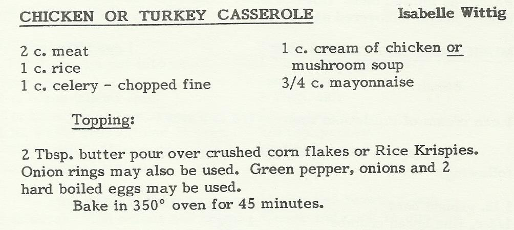Chicken or Turkey Casserole