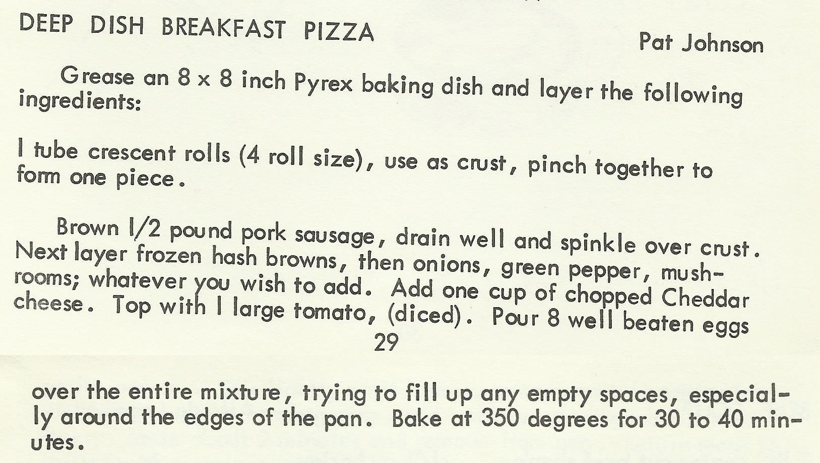 Deep Dish Breakfast Pizza