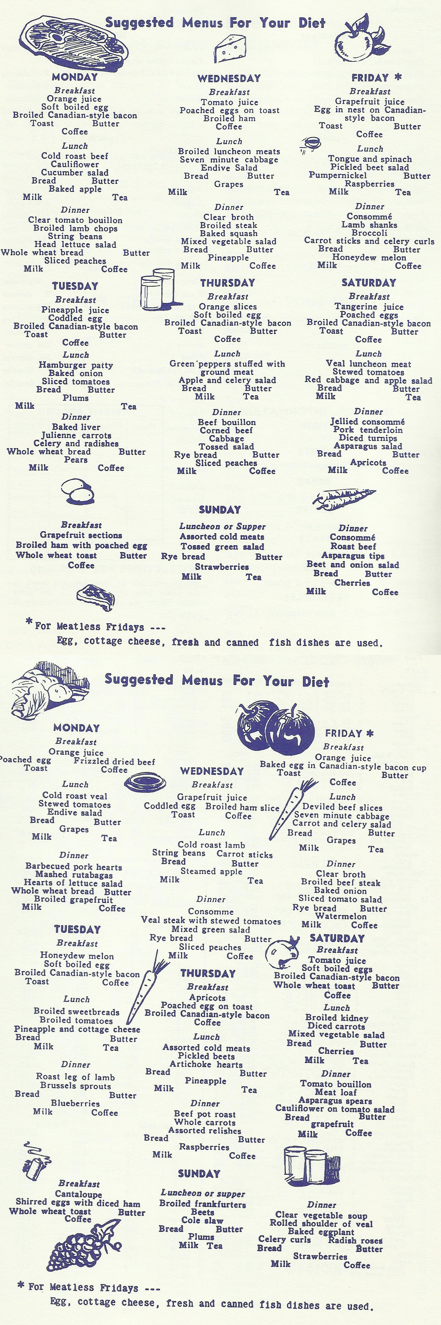Suggested Menus For Your Diet