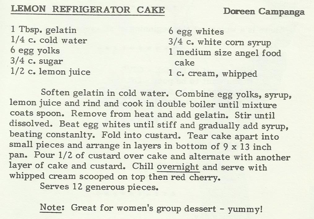 Lemon Refrigerator Cake