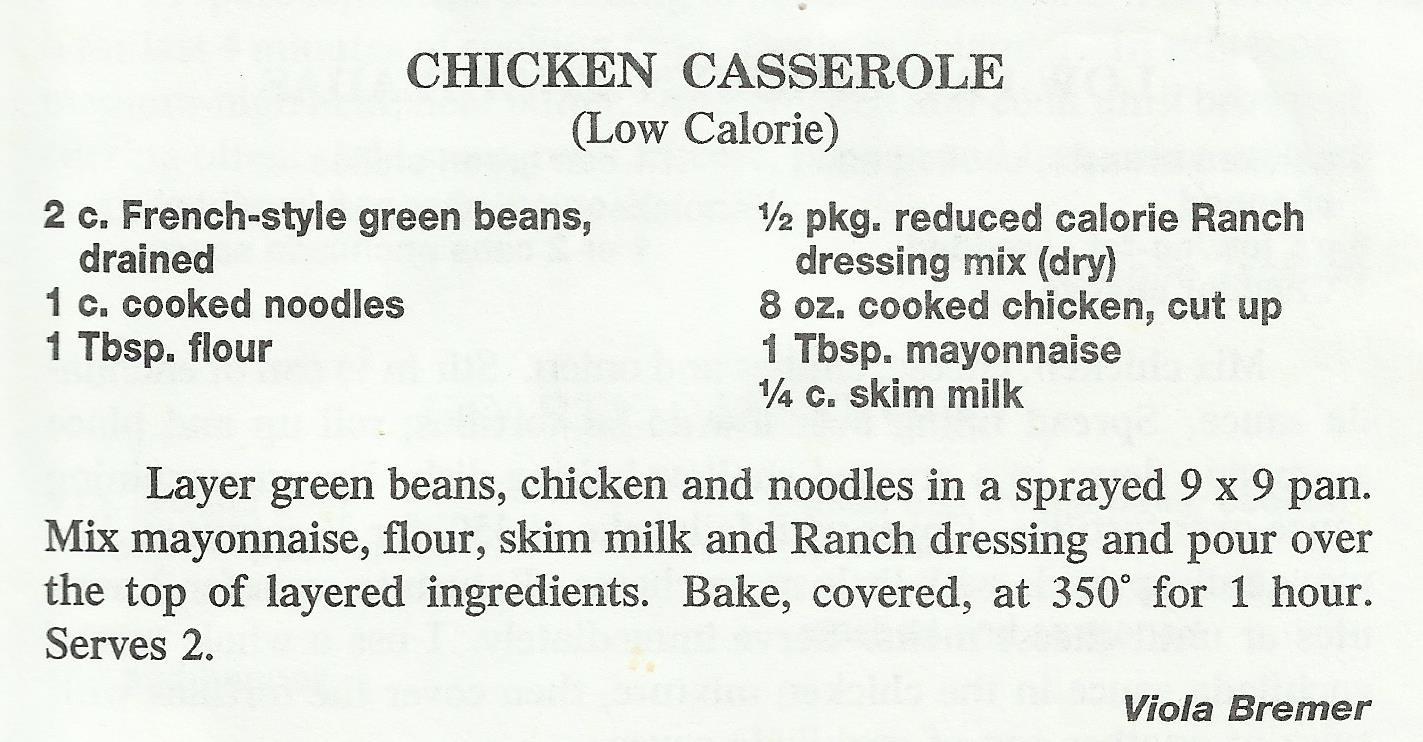 Chicken Casserole (Low Calorie)