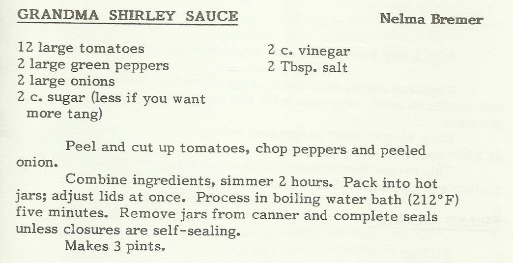 Grandma Shirley Sauce