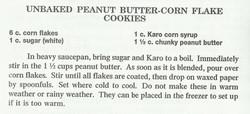 Unbaked Peanut Butter-Corn Flake Cookies