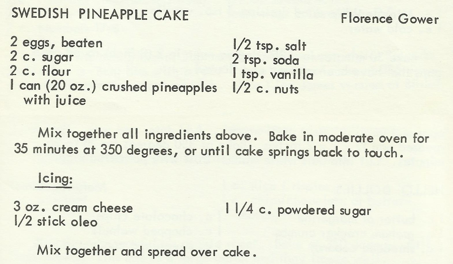 Swedish Pineapple Cake