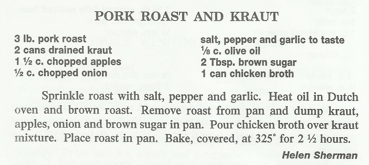 Pork Roast and Kraut