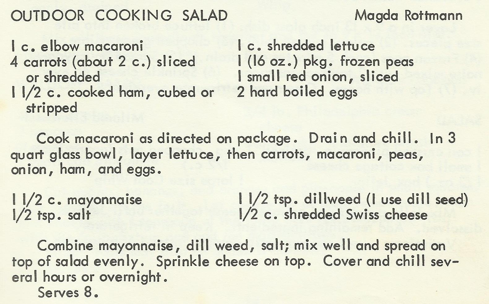Outdoor Cooking Salad