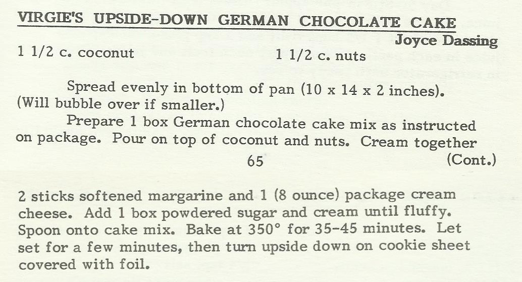 Virgie's Upside-Down German Chocolate Cake