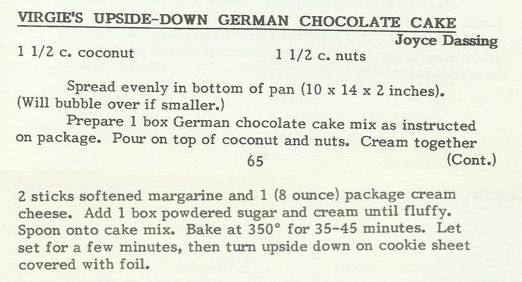 Virgie's Upside-Down German Chocolate Cake