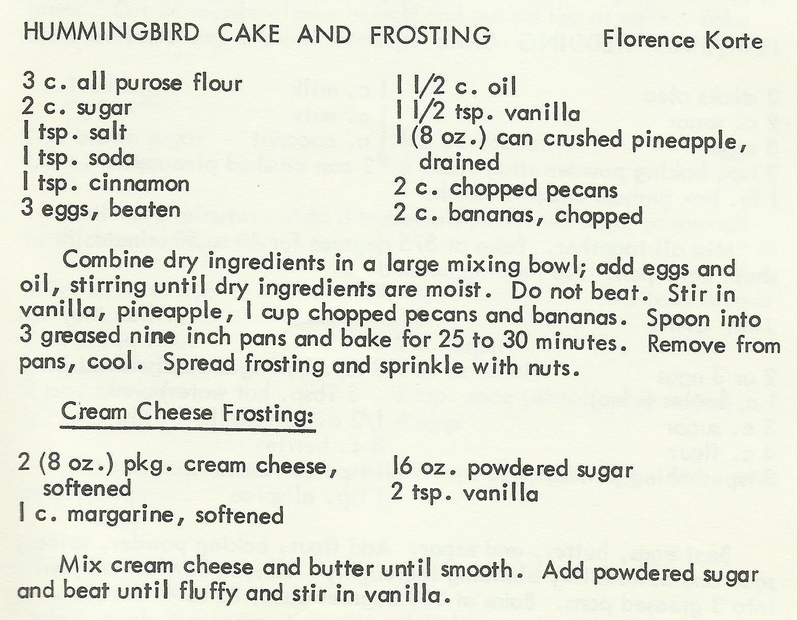 Hummingbird Cake and Frosting