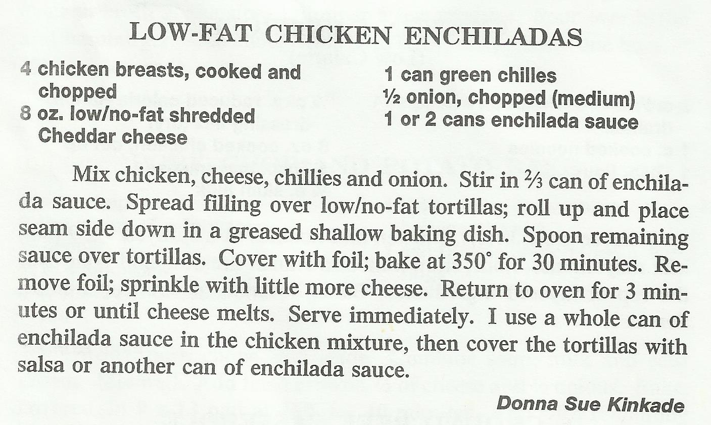 Low-Fat Chicken Enchiladas