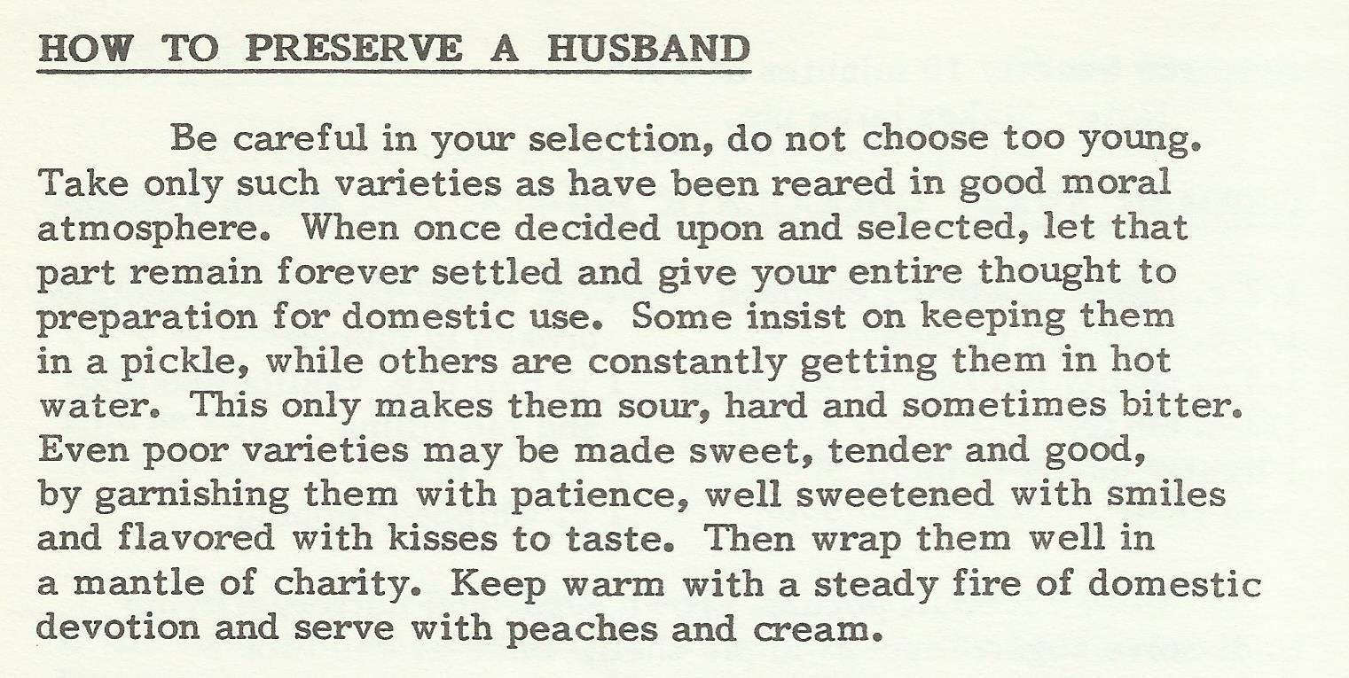 How to Preserve a Husband
