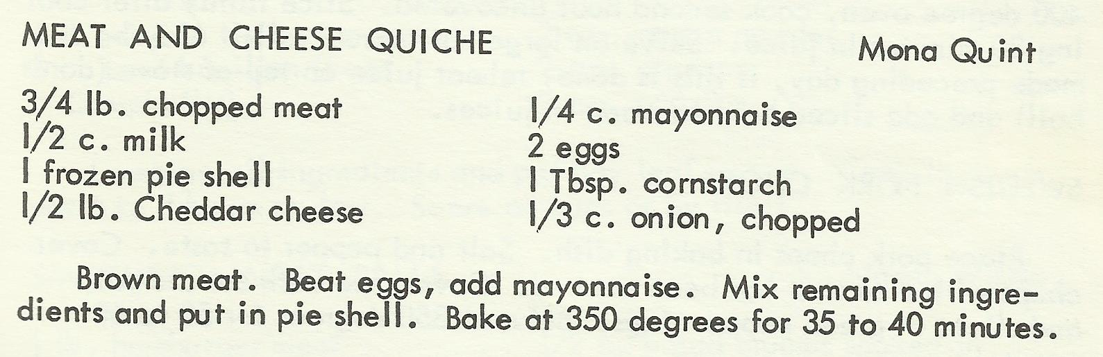 Meat and Cheese Quiche