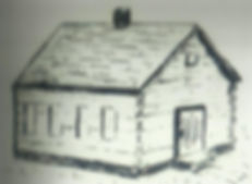 Sketch of Log Cabin Church first St. John Lutheran Church Metropolis, IL Building