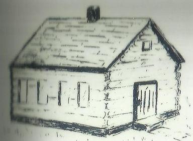 Sketch of Log Cabin Church first St. John Lutheran Church Metropolis, IL Building