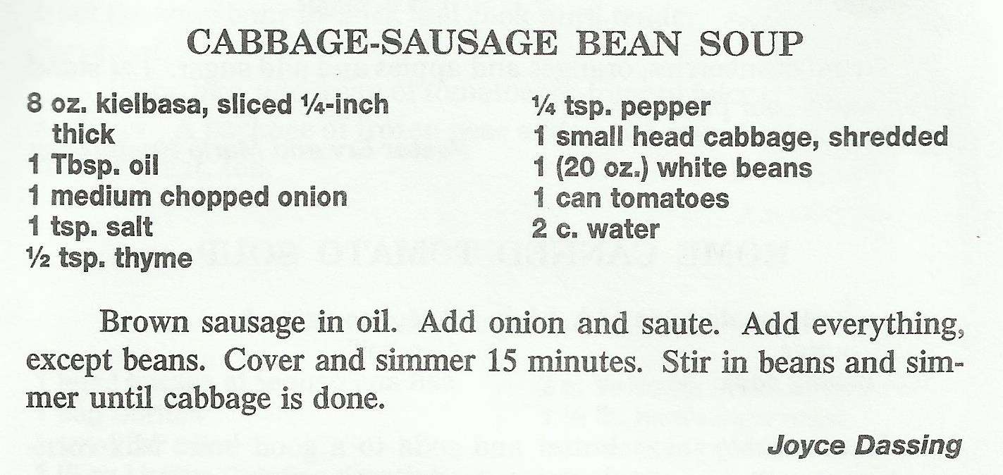 Cabbage-Sausage Bean Soup