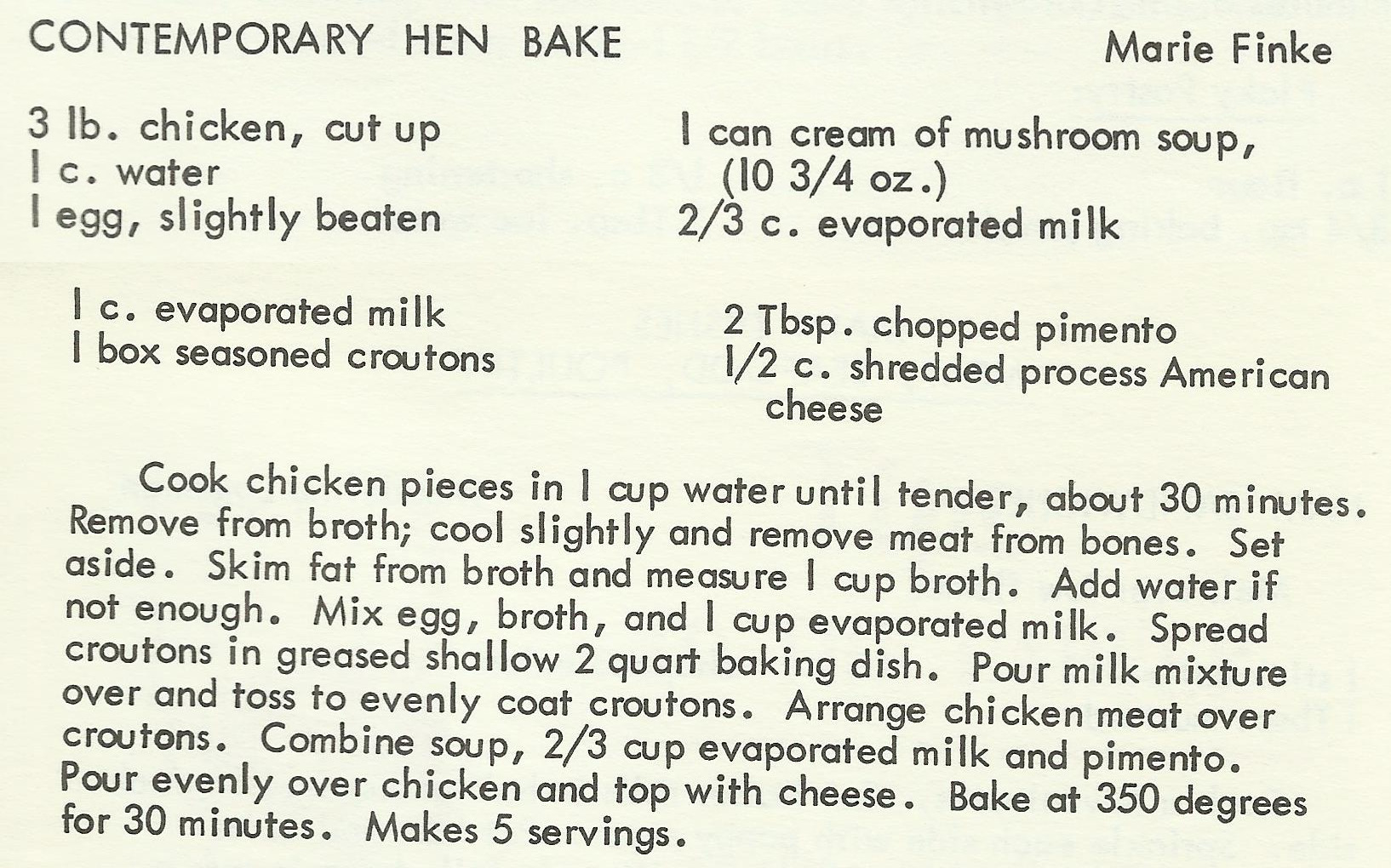 Contemporary Hen Bake