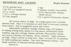 Microwave Easy Lasagna