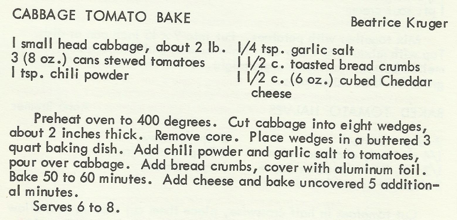 Cabbage Tomato Bake