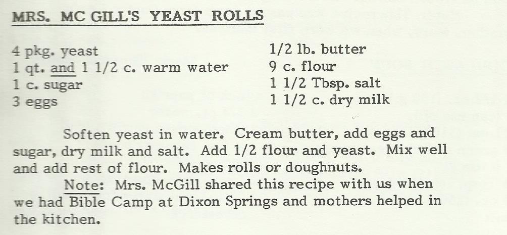 Mrs. McGill's Yeast Rolls