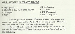 Mrs. McGill's Yeast Rolls