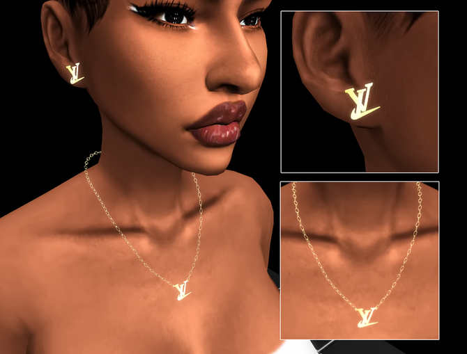 Ebonix | LV Nike Necklace & Earrings
