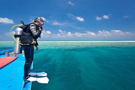 Scuba diver on a boat