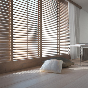 Wooden blinds and wooden floor