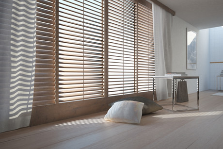 Wooden blinds and wooden floor