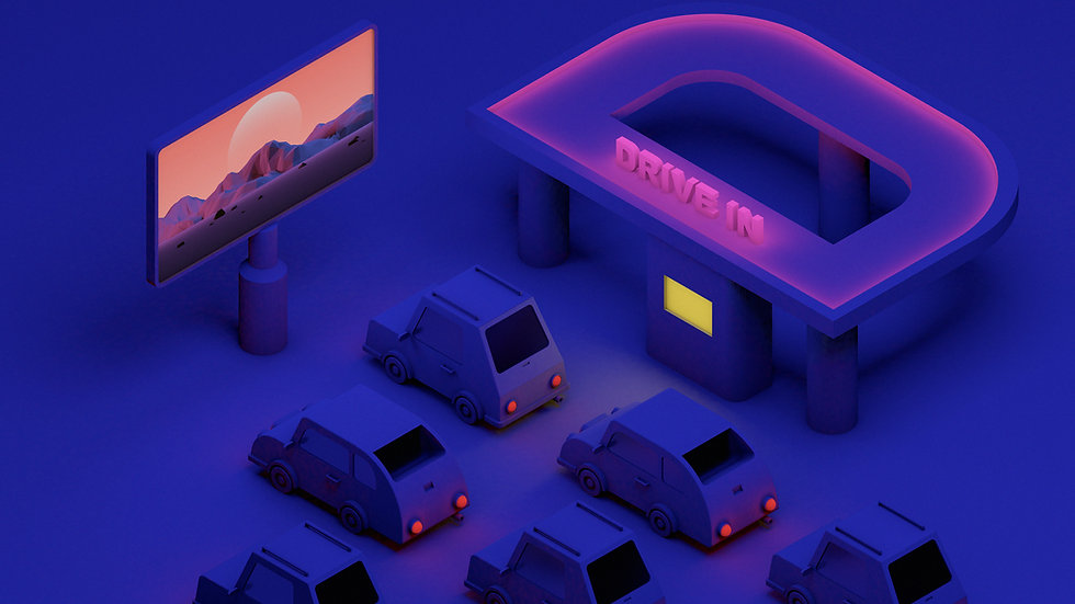 3D illustration of cars at a drive-in mo