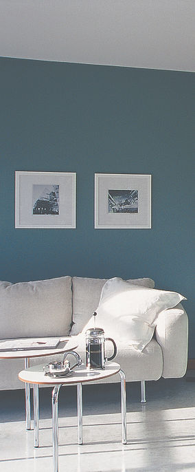 Beautiful sun filled loungeroom, teal walls, concrete floos