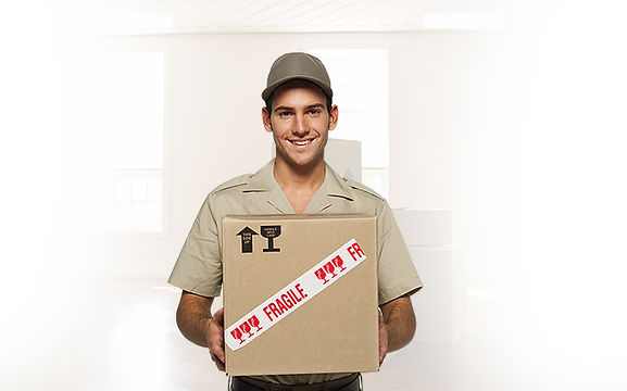 professional mover holding a moving box