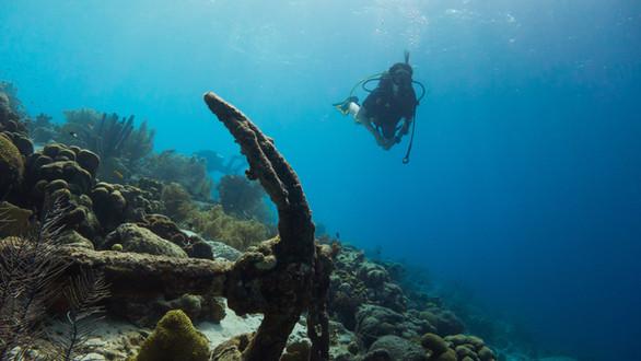 Scuba diver with sunken anchor